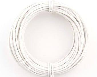 White Round Leather Cord 1mm 10 meters (11 yards)