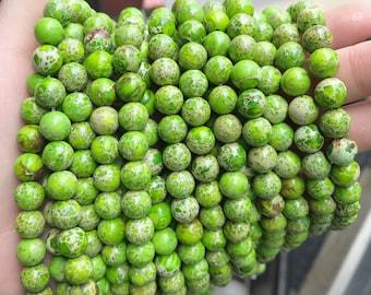 light green impression jasper, 8mm round, boho beads, gemstone beads, full strand, round beads,