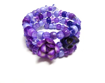 Purple Day of the Dead Bracelet Sugar Skull Jewelry