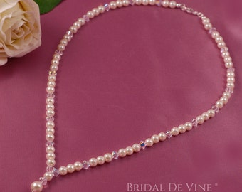 Bridal Pearl & Crystal Necklace made with CRYSTALLIZED™ - Swarovski Elements