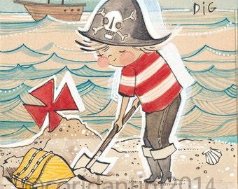 Art Print of a little Pirate boy, nursery artwork - Cori Dantini - Art Print - nautical themed- The Adventurers - Archival Limited edition