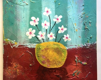 16 x 16 inches Flowers Abstract Art Acrylic Painting on canvas Ready to hang with hanger Contemporary Mixed Media Modern Paint Wall Original