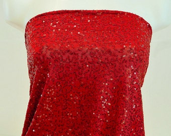 """Sewn on Sequin fabric 58"""" Red  .. stretch all 4 ways..great for costumes, dance, theater, formal wear, pageant"""