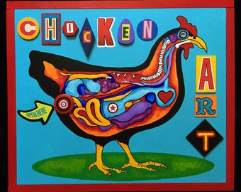 Chicken Art - Assemblage/Painting Mixed Media