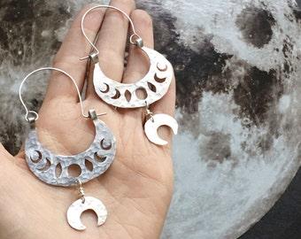 moon phase earrings, lunar phase hoop earrings, tribal moon phase earrings