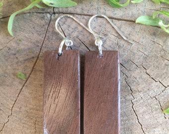 Black Walnut Earrings, FREE SHIPPING, Wooden Earrings, Sterling Silver, Wooden Earrings, Sterling Silver, Wood Earrings, Black Walnut