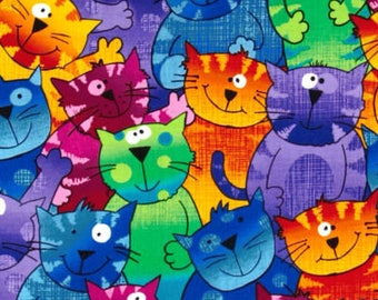 Happy Cats in Vibrant Colors all Over Bouffant Surgical Scrub Hat with a Matching Headband- Scrub Caps/Surgical Scrub Hats Colorful Cats