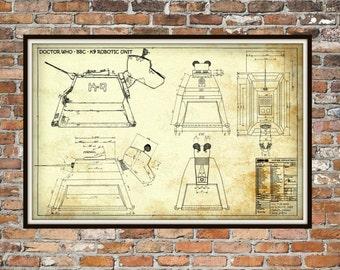 Dr Who K-9, K9 Robotic Unit Print Poster, Dr Who Blueprint,  Art of The Tardis, Pet, Whovian Gift - Dog, Companion Print Art Item 0223B