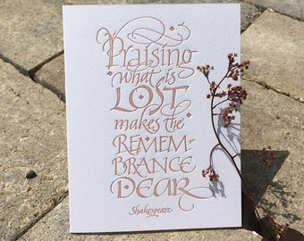Sympathy Card (Letterpressed Calligraphy)