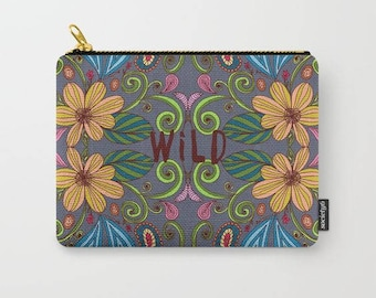 carry all pouch-boho style-floral-typography-gray-yellow-colorful-bohemian design-coin purse-purse organizer-iphone holder-cosmetic bag