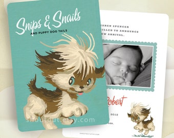Custom Birth Announcements - Vintage Puppy Dog - Paint by Number - Baby Boy Blue - 100 Announcements