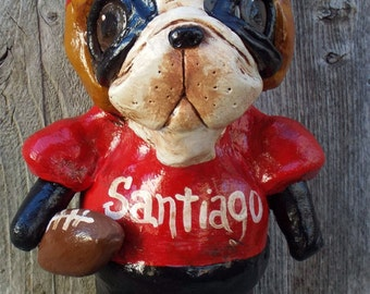 Vintage Nostalgic Boston Terrier Dog Football Foot Ball Dog Doll Ooak Folk Art