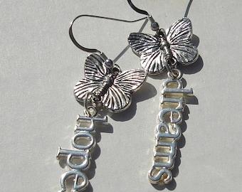 Pierced Earrings Butterfly Hopes and Dreams butterfly affirmation charm earrings butterfly jewelry Gift for Her earrings