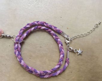 Bracelet two rows of braided suede Pink/Purple