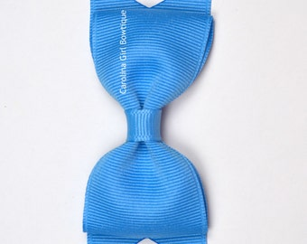 "Copen Blue Tuxedo Bow ~ 3.5"" Hairbow ~ Small Hair Bow ~ Girls Barrette ~ Toddler Bow ~ Baby Hair Bow ~ Hair Clip ~ Girls Hair Bow"
