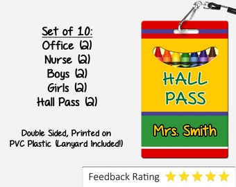 Crayon Theme Classroom Hall Passes for Teachers, Personalized, Set of 10