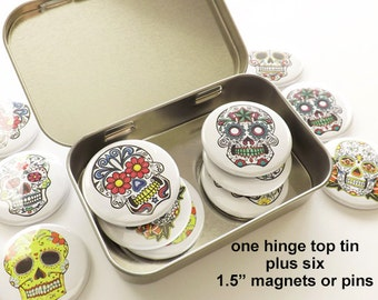 """Day of the Dead Gift Set one hinge top tin + six 1.5"""" magnets or pins party favors stocking stuffer sugar skull dia de los muertos halloween"""