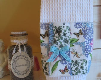 Pouch for Remover white honeycomb and cotton Dragonfly and Butterfly
