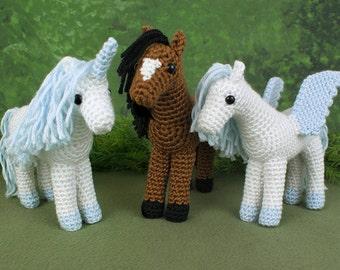 PDF Horse, Unicorn and Pegasus - three amigurumi CROCHET PATTERNS