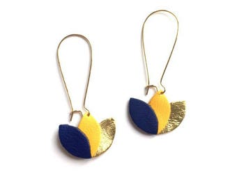 Royal blue leather earrings, mustard yellow and gold, on Golden mount style sleeper leather flower