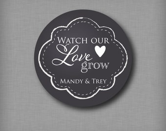 Watch Our Love Grow Stickers Seed Packet Favor Labels Wedding Bridal Shower