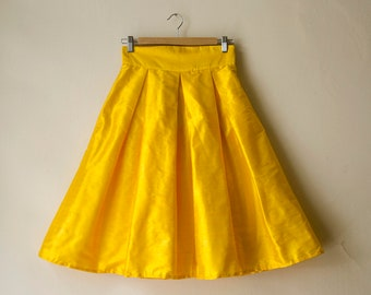 Yellow Knee Skirt Silk High Waist Maxi Midi Party Evening Skirt with Pockets, Bridesmaids Skirt, Customize color and length, Plus sizes