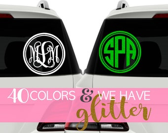 Glitter Monogram Car Decal Glitter, Personalized Car Accessories,  Monogram Car Accessories for Women, Car Monogram Sticker for Car CDMG4A