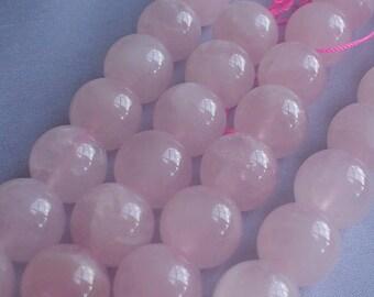 gemstone pink rose quartz smooth round bead 16 mm / 15 inch