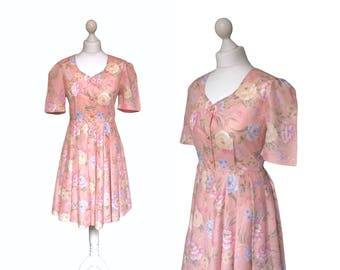 Floral Tea Dress | 70s 80s | Pink Dress | Vintage Dress | Retro Summer Style