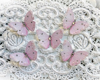 Reneabouquets Tiny Treasures Handcrafted Butterfly Set-  Sweet As Candy Premium Paper Glitter Glass Butterflies