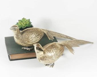 Pair of Large Brass Pheasants / Peacocks