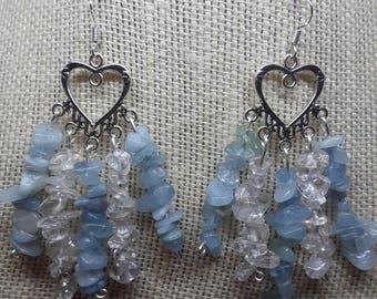 Heart Chandelier Earrings with seafoam blue and clear chip stones.