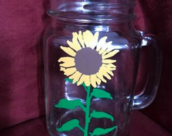 Sunflower Hand Painted Glass