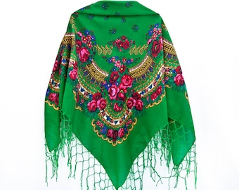 Green Boho Floral Shawl with Tassels Russian Shawl Chale Russe Vintage Ukrainian Shawl Babushka Shawl Square Scarf Mother Day Gift (072)