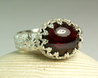 Garnet Gemstone Ring, January Birthstone, Fancy Bezel Setting, Sterling Silver Ring, Floral Band