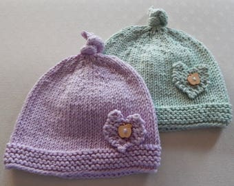 2 Baby Beanie Hats, hand knitted in pink/green yarn - age 0-6 months