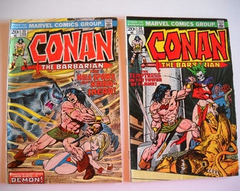 Marvel Comics, Conan the Barbarian, issue #34 1973, Issue #35 1974, comic books, vintage
