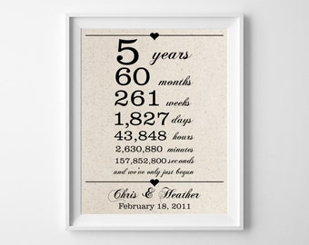 5 years together - Cotton Gift Print | 5th Anniversary Gifts | 5 Year Anniversary Gift for Husband Wife | Weeks Days Hours Minutes Seconds