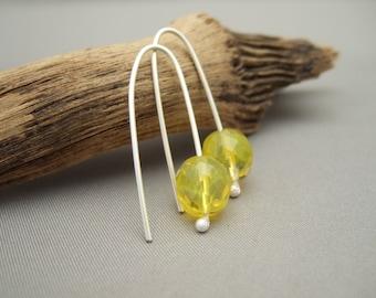 Lemon Yellow Earrings - Sherbet Lemon Glass Earrings - Yellow Czech Glass and Sterling Silver Earrings