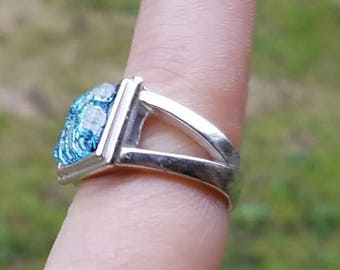 New Flat 10mm Square Cut Cremation Ring Jewelry Ashes InFused Glass 7 , 8 Pet Memorial Urn