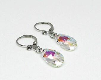 Earrings - Swarovski crystal - blue AB - LILY