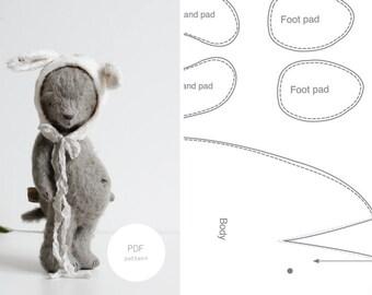 PDF Sewing Pattern & Tutorial Mohair Teddy Bear 8 Inches Easter Bunny Pattern Stuffed Animal Pattern Artist Teddy Bear Pattern For Woman