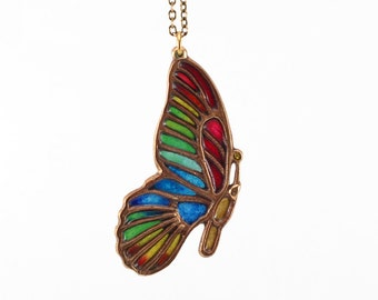 Citrine gemstone, Plique-à-jour butterfly necklace, Moth jewelry, stained-glass pendant, glass enamel charm, transparent insect vitreous bug