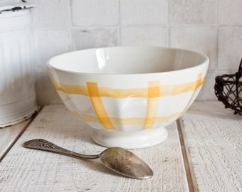 "Large Vintage French Café Au Lait Bowl Yellow ""Torchon"" Pattern 