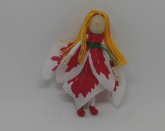 Christmas Fairy - red and white Poinsettia Fairy - Waldorf Flower Fairy Doll - Christmas ornament