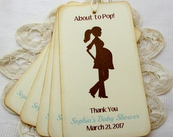 Personalized Baby Boy Shower Thank You Tags, Custom About To Pop Shower Favor Tags, Maternity Shower Thank You Tags