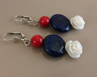 Boho Dangle Gemstone Earrings, Flower Shell Drop, Lapis Coral Earrings, Leverback Dangling, Bohemian Jewelry, Women Gift, Birthday Gift