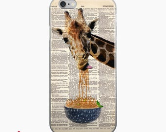 GIRAFFE Loves NOODLES Dictionary Art iPhone 7 8 X Case, iPhone 7 Plus Case, Giraffes Funny Animal Print iPhone 6s case, iPhone 6 plus Cover