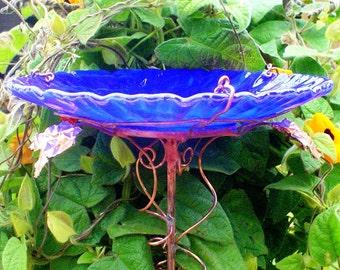 """Stained Glass GARDEN, Garden BIRD BATH, 8.5"""" diameter, Bird Feeder, stained glass, fused glass, copper art, Cobalt Blue, Suncatcher"""