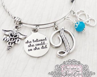 Doctor Gifts, MD Graduate, She Believed she could so she did, Md jewelry gifts, Bangle Bracelet-Jewelry,College Grad Gift, Gift, Stethoscope
